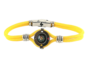 Stainless steel bracelet and yellow nautical rope with central compass