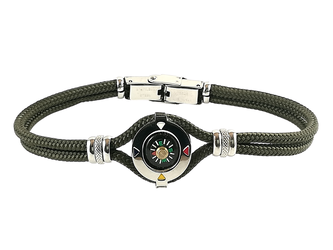 Stainless steel bracelet and military green nautical rope with central compass