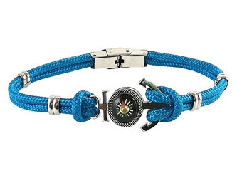 Stainless steel bracelet and light blue nautical rope with anchor and compass