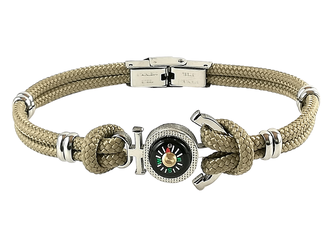 Stainless steel bracelet and beige nautical rope with anchor and compass