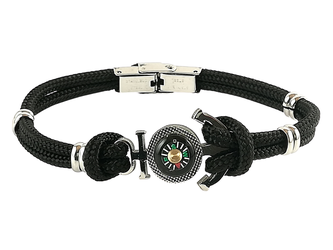 Stainless steel bracelet and black nautical rope with anchor and compass