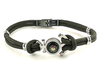 Stainless steel bracelet and military green nautical rope with anchor and compass