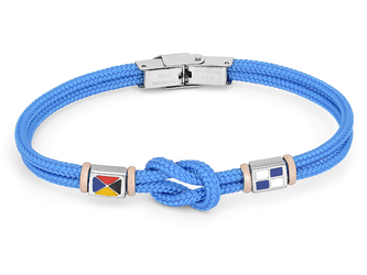Stainless steel bracelet and light blue nautical rope and flags