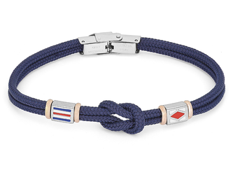 Stainless steel bracelet and blue nautical rope and flags