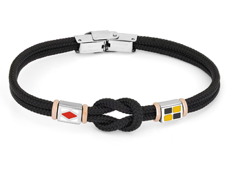 Stainless steel bracelet and black nautical rope and flags