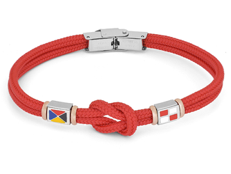 Stainless steel bracelet and red nautical rope and flags