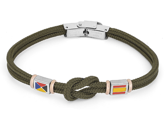 Stainless steel bracelet and military green nautical rope and flags