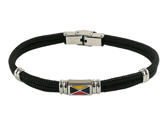 Stainless steel bracelet and black nautical rope with central enameled flag