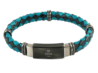 Stainless steel bracelet and blue/light blue braided leather with vintage steel