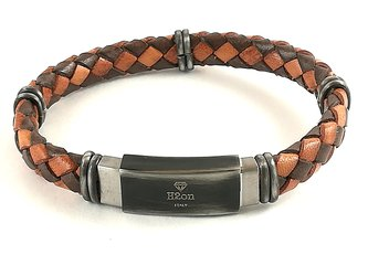 Stainless steel bracelet and brown/orange blue braided leather with vintage steel