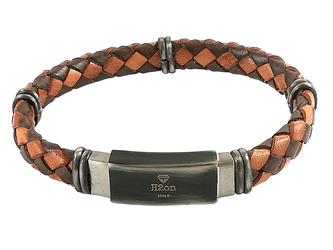 Stainless steel bracelet and brown/orange blue braided leather with vintage steel