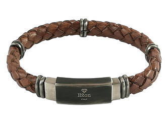 Stainless steel bracelet and brown braided leather with vintage steel