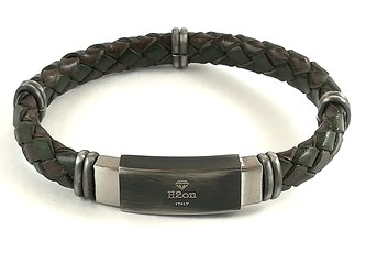 Stainless steel bracelet and military green/brown braided leather with vintage steel