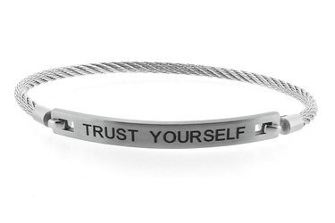 Stainless steel bracelet and cable engraved with TRUST YOURSELF