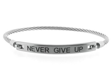 Stainless steel bracelet and cable engraved with NEVER GIVE UP