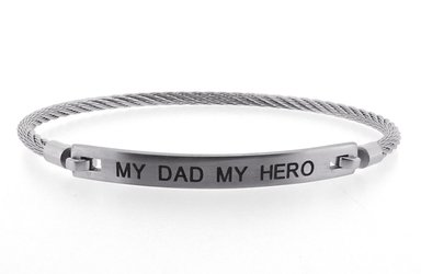 Stainless steel bracelet and cable engraved with MY DAD MY HERO