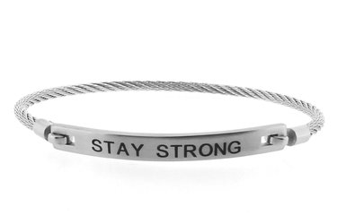 Stainless steel bracelet and cable engraved with STAY STRONG