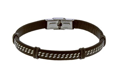 Stainless steel and brown leather bracelet with central steel chain