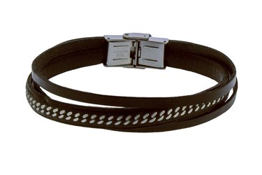 Stainless steel bracelet and brown multifilament leather with central steel chain