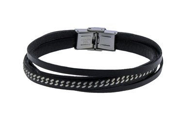 Stainless steel bracelet and black multifilament leather with central steel chain