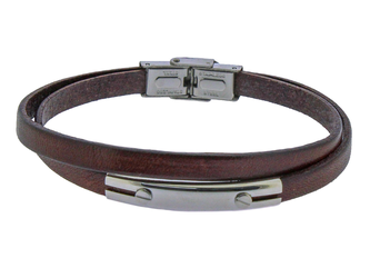 Stainless steel and double brown leather bracelet with central steel plate