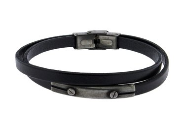 Stainless steel and double black leather bracelet with central steel vintage plate