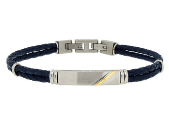 Stainless steel and blue leather bracelet with steel plate and 18kt gold strip (gr 0.04)