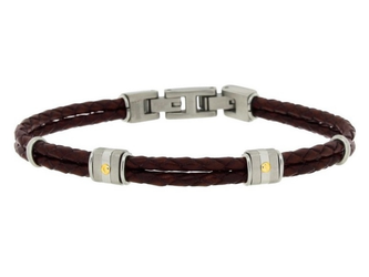 Stainless steel and brown leather bracelet with two steel groups and 18kt gold screws (gr 0.04)