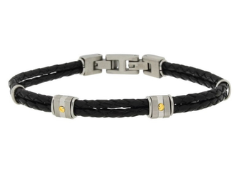 Stainless steel and black leather bracelet with two steel groups and 18kt gold screws (gr 0.04)