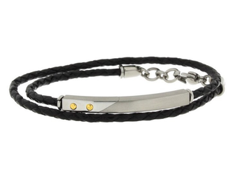 Stainless steel and black leather bracelet two turns with steel plate and 18kt gold screws (gr 0.04)