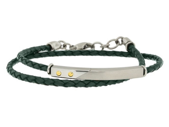 Stainless steel and green leather bracelet two turns with steel plate and 18kt gold screws (gr 0.04)