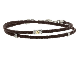 Stainless steel and brown leather bracelet two turns with 18kt gold screw (gr 0.03)