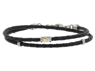 Stainless steel and black leather bracelet two turns with 18kt gold screw (gr 0.03)
