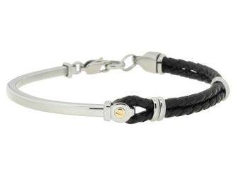 Semi-rigid stainless steel and black leather bracelet with central screw in 18kt gold (gr 0.03)