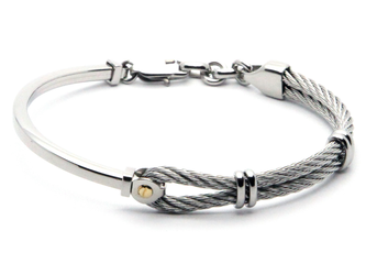 Semi-rigid stainless steel cable bracelet with central screw in 18kt gold (gr 0.03)