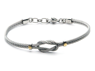 Stainless steel cable bracelet with knot and screws in 18kt gold (gr 0.06)