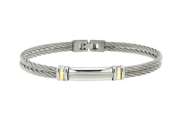 Stainless steel cable bracelet and steel plate with 18kt gold sides (gr 0.06)