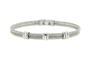 Stainless steel cable bracelet with three groups of links with 18kt gold screws (gr 0.06)