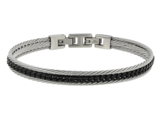 Stainless steel cable bracelet and vintage black PVD central chain