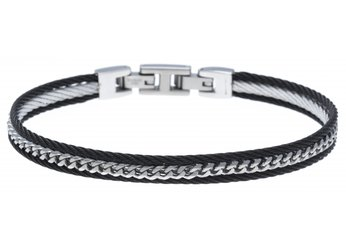 Stainless steel cable bracelet in black PVD and central steel chain