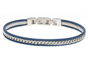 Stainless steel cable bracelet in blue PVD and central steel chain