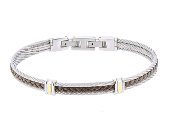 Stainless steel cable bracelet with central brown leather and 18kt gold stripes (gr 0.06)