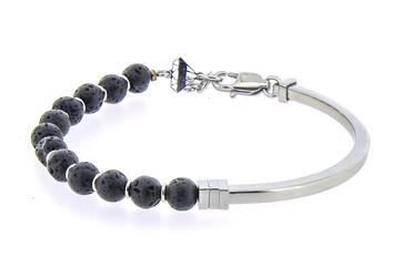 Semi-rigid stainless steel bracelet and natural Lava stones
