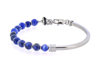 Semi-rigid stainless steel bracelet and natural Sodalite stones