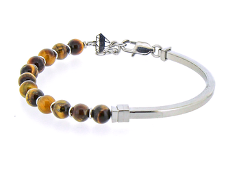 Semi-rigid stainless steel bracelet and natural Tiger Eye stones