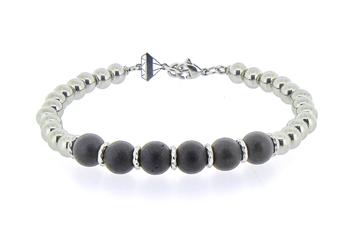 Bracelet with stainless steel spheres and dark brown wood