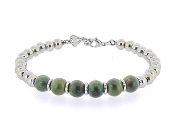 Bracelet with stainless steel spheres and light green wood