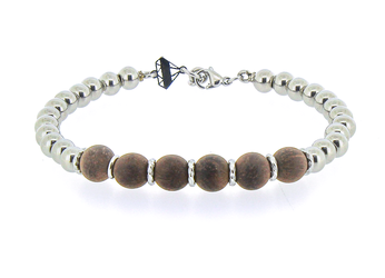 Bracelet with stainless steel spheres and light brown wood