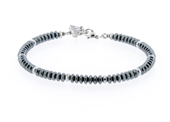 Stainless steel bracelet with natural Hematite stones