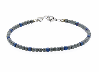 Stainless steel bracelet with natural Hematite stones blue and grey